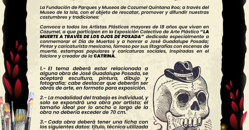 """LA FPMC CONVOCA A ARTISTAS DE COZUMEL A PARTICIPAR EN LA EXPOSICIÓN COLECTIVA """"LA MUERTE A TRAVÉS DE LOS OJOS DE POSADA"""""""